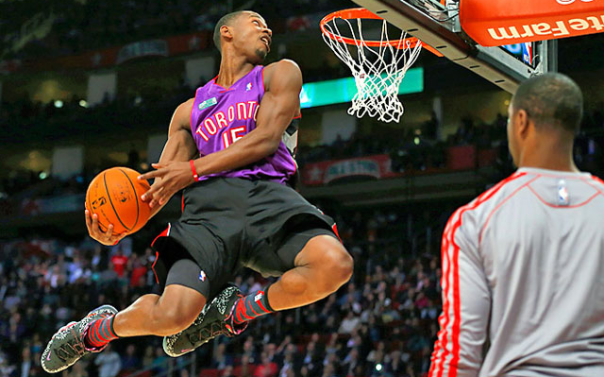 Terrence Ross dunks in Vince Carter Jersey - Slam Dunk Contest 2013