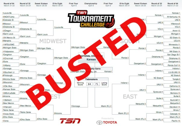 2013 NCAA March Madness Busted Bracket