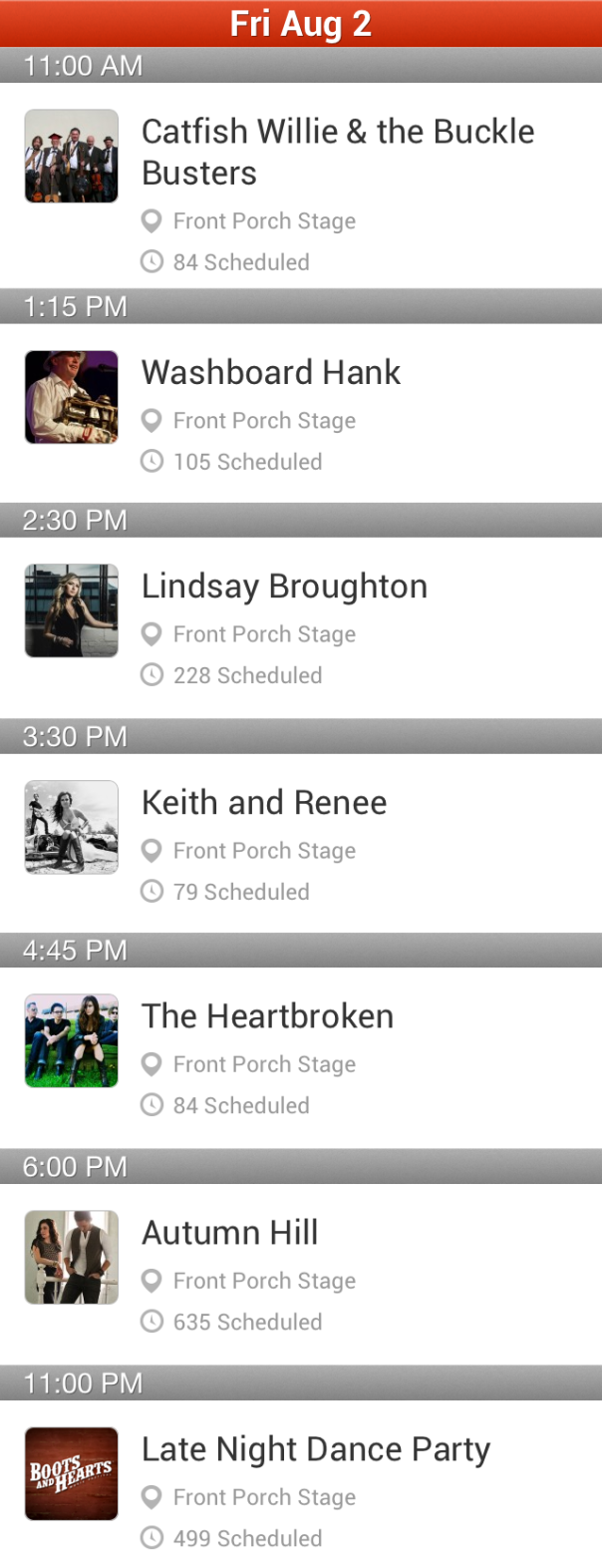 Boots and Hearts Front Porch Friday Schedule