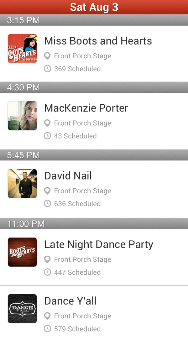 Boots and Hearts Front Porch Saturday Schedule