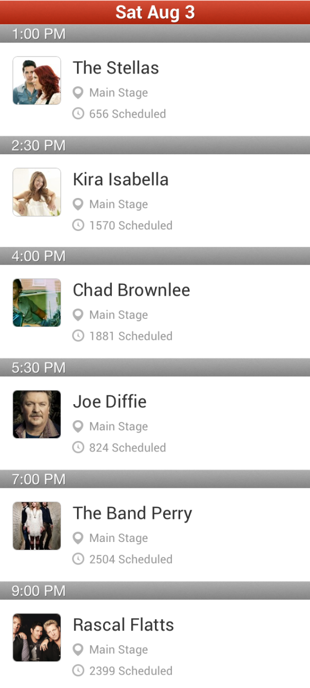 Boots and Hearts Main Stage Saturday Schedule