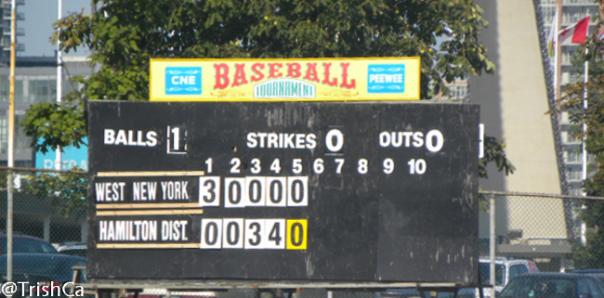 2013 Lions-CNE Peewee Baseball Tournament Scoreboard [credit: Trish Cassling]