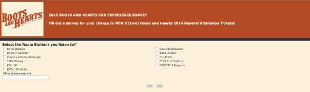 2013 Boots and Hearts Fan Experience Survey
