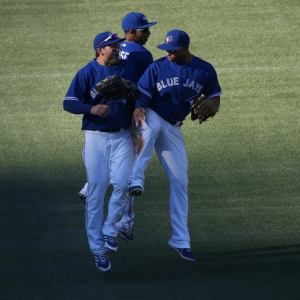 Anthony Gose, Moises Sierra, Kevin Pillar Toronto Blue Jays Outfield 2014